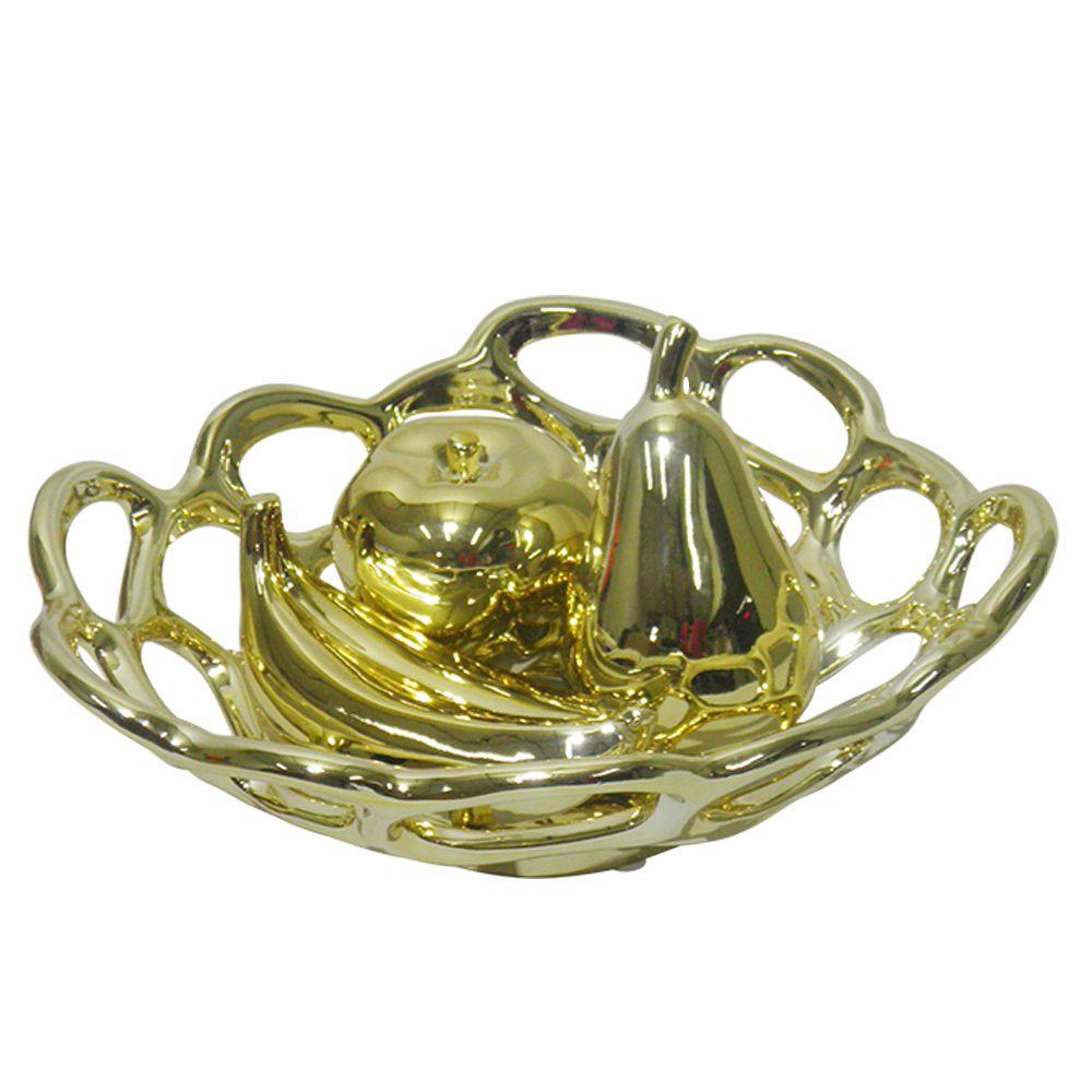 Fruteira Ouro Dourada Kit Banana Maça Pera Ceramica Casa