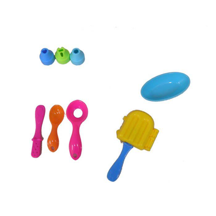 Kit Massinha de Modelar 365g Mesa e Acessorios 4 Potes Brinquedo Crianca (SPI17185)