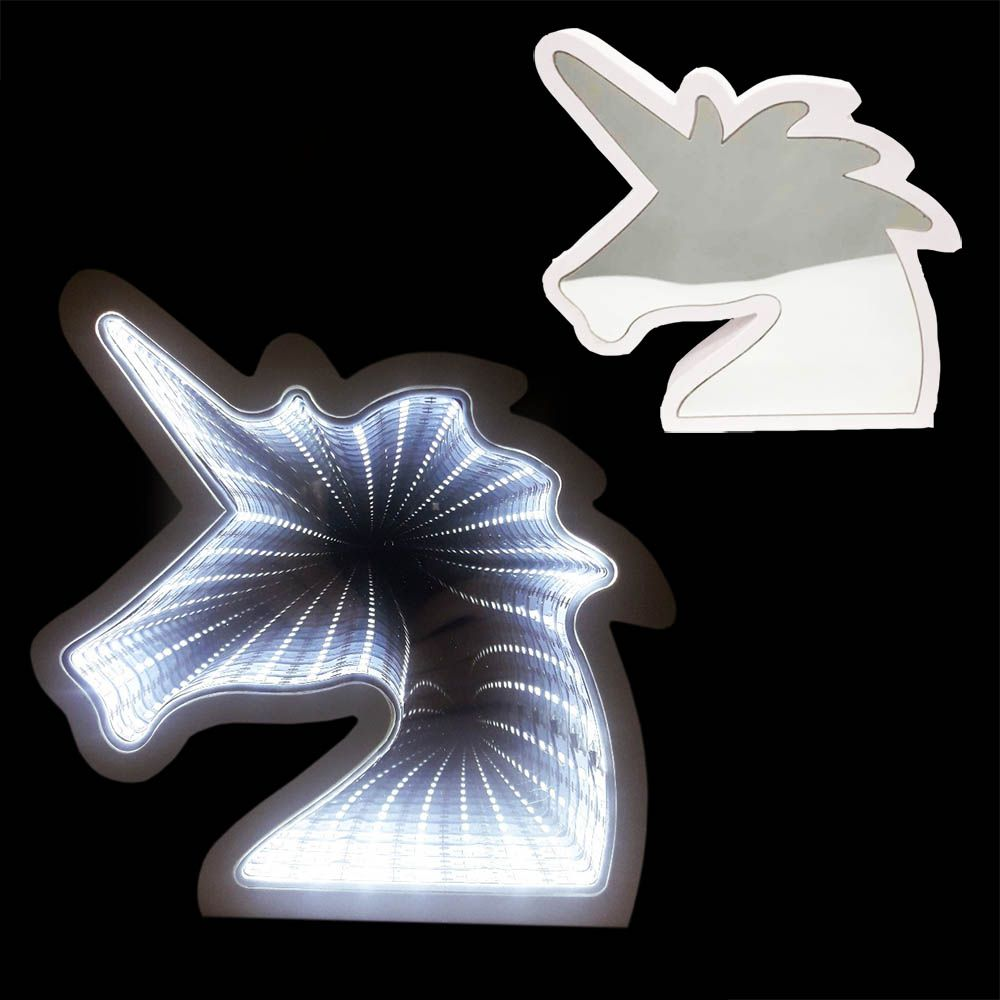 Luminaria Espelho 3D Infinito Led Unicornio Profundidade Luz Quarto (QZ3804)