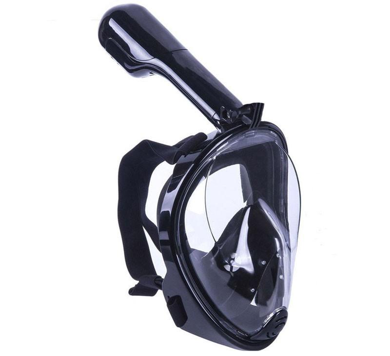 Máscara de Mergulho Snorkel Full Face Suporte Gopro Anti Embaçamento P/M Preto (BSL-xst-2)