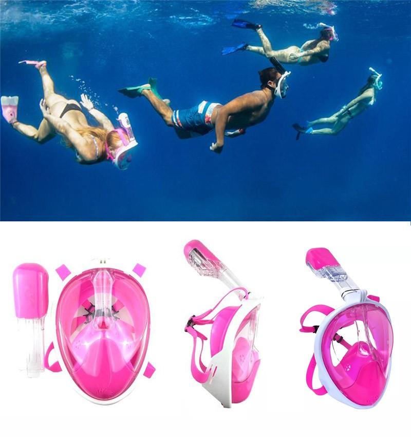 Máscara de Mergulho Snorkel Full Face Suporte Gopro Anti Embaçamento G/GG Rosa (BSL-xst-2)