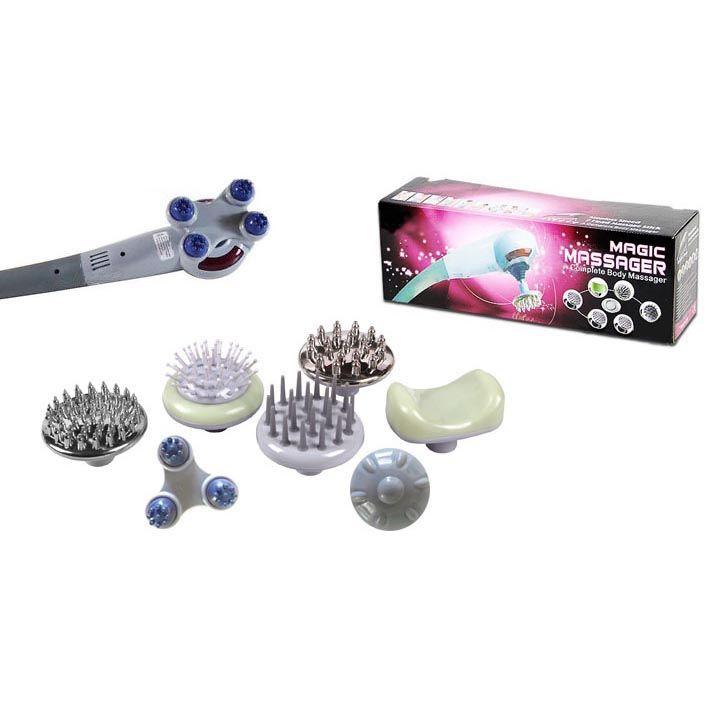 Massageador Eletrico Corporal Vibratorio 7 adaptadores infravermelho Grande (889A)