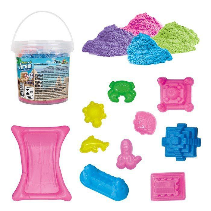Massinha Areia Magica Modelar Pote 1kg Forminha Tapete Brinquedo Infantil (ZF5096)