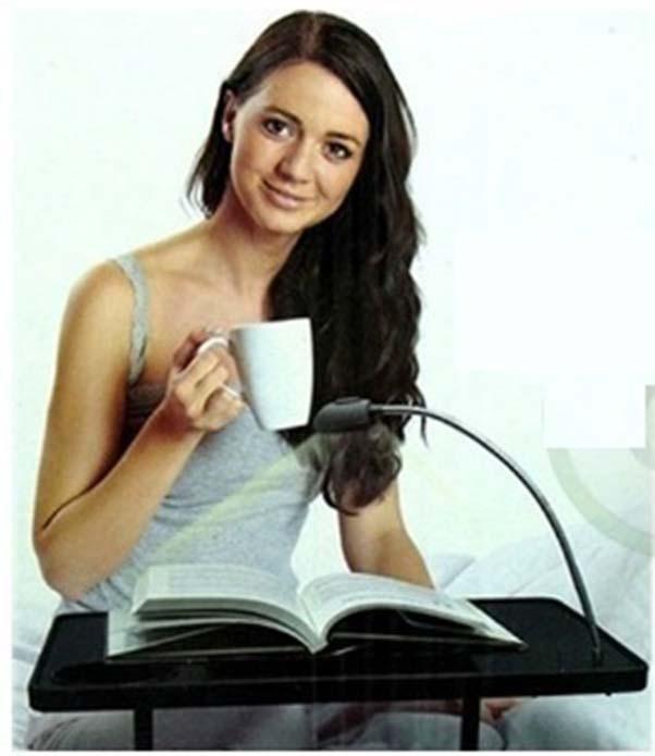 Mesa de Notebook Com Luz Led Porta Copo Altura Ajustavel Cabeceira Ler Comer Portatil  (bsl-23521-9)