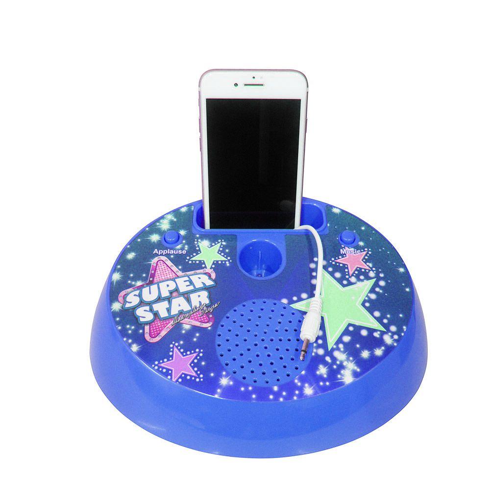 Microfone Infantil Azul Led Celular Som Musica Karaoke Brinquedo (SPI17125)