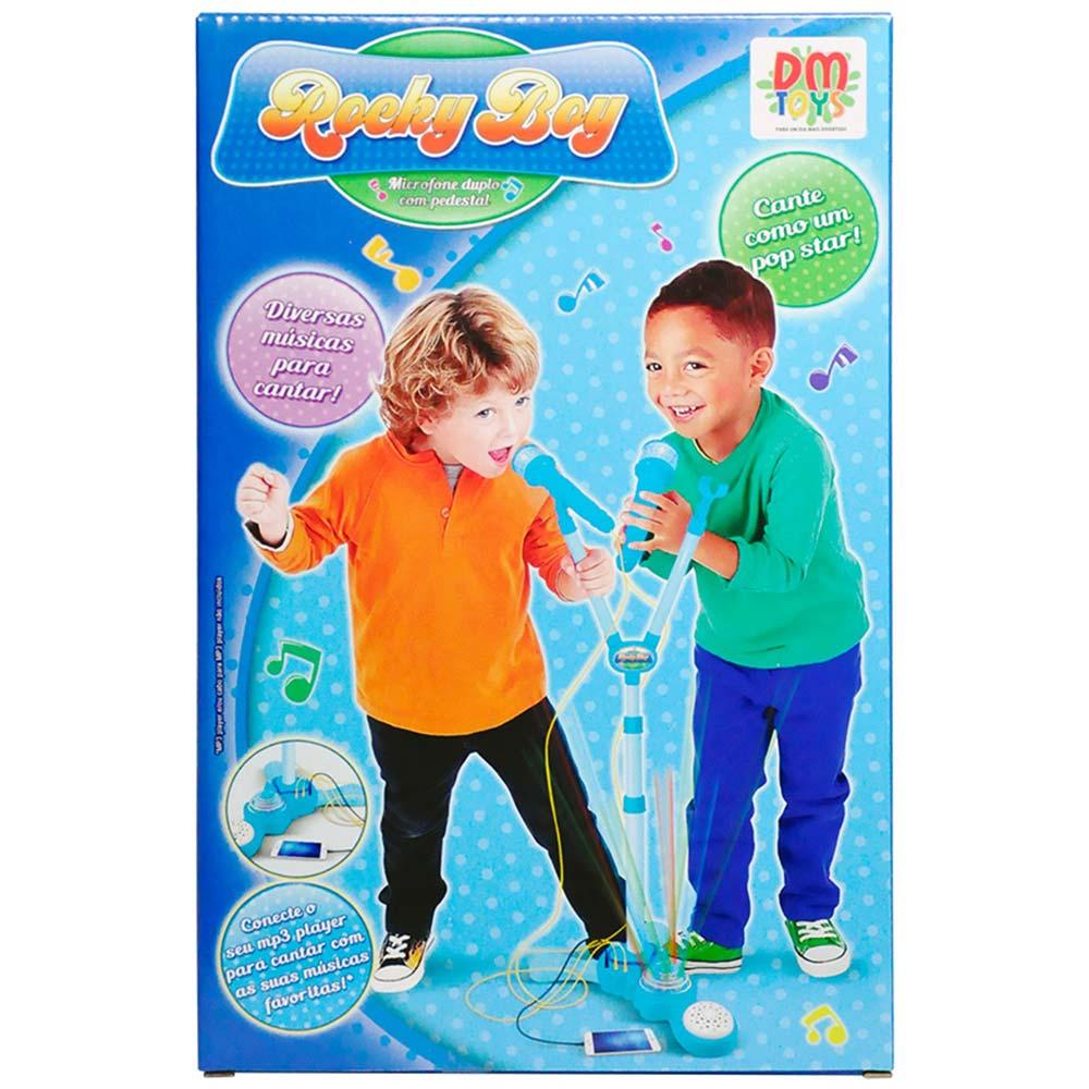 Microfone Infantil Duplo Amplificador Karaoke Com Pedestal Azul (DMT5049)