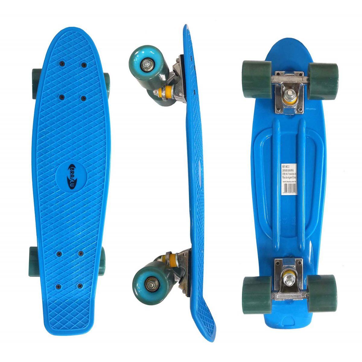 Mini Skate Profissional Truck Blindado Radical Rodas Abec 7 Shape Azul (SKT-2)