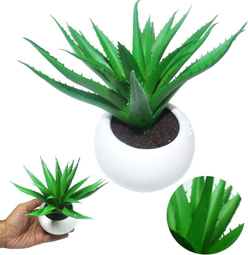 Suculenta Planta Artificial Com Vaso Branco Cacto Ornamentacao Festa Enfeite Jardim Verde (SH-3 MOD3)