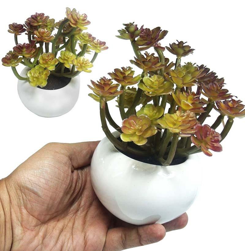 Suculenta Planta Artificial Com Vaso Branco Ornamentacao Festa Enfeite Jardim Tons Vermelho (SH-3 MOD1)