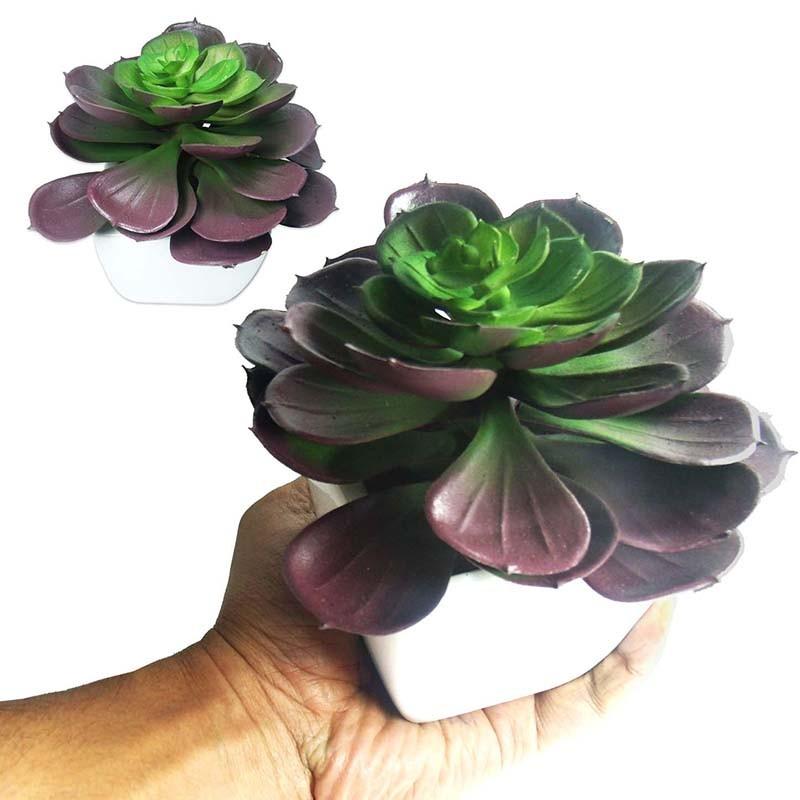 Suculenta Planta Artificial Com Vaso Branco Ornamentacao Festa Enfeite Jardim Tons Vermelho
