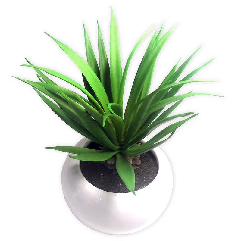 Suculenta Planta Artificial Com Vaso Branco Ornamentacao Festa Enfeite Jardim Verde