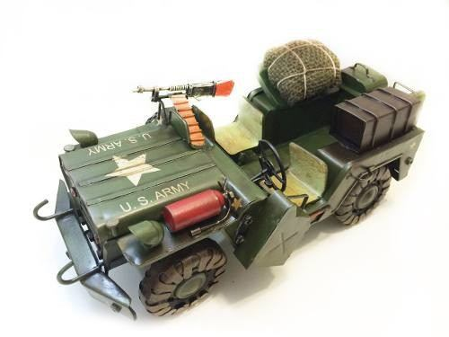 Miniatura Jeep De Ferro  2 Guerra Americano Fundido Verde (CJ-006)