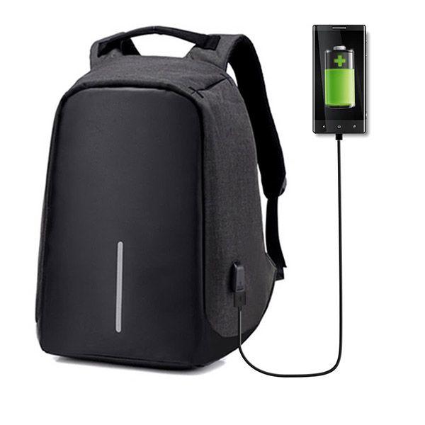 Mochila Anti-Roubo USB Unissex Ziper Escondido Com Ajuste Laptop (9008)