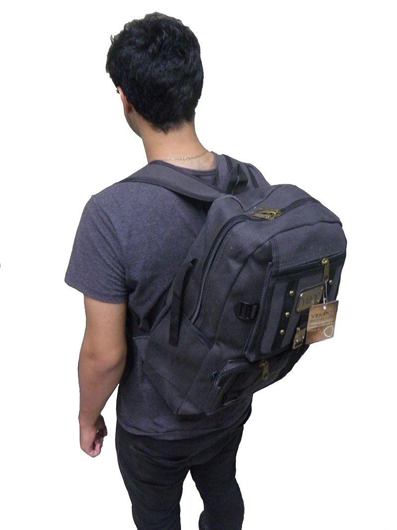 Mochila Preto Tipo Jeans Escolar Adulto Juvenil Masculino (ML1030)