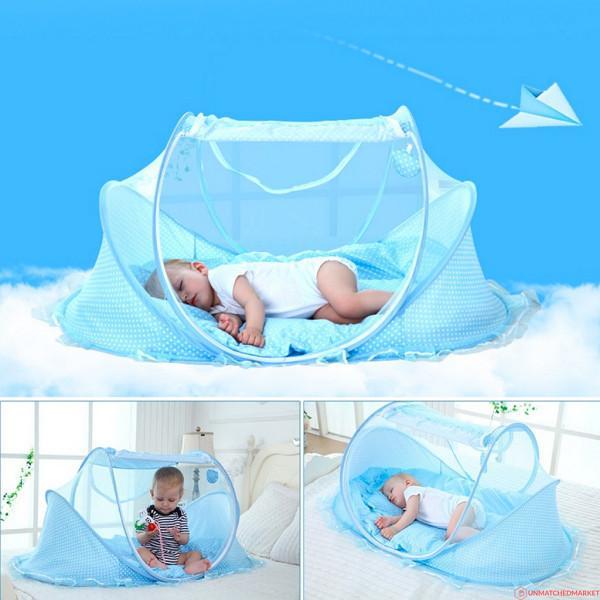 Mosquiteiro Berço Cama Tenda Cercadinho Infantil Portatil Azul