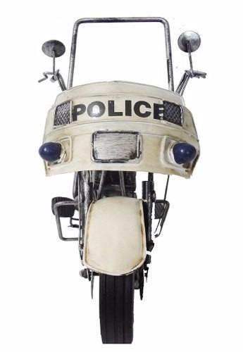 Moto Motocicleta Police Retro De Metal Vintage Londres