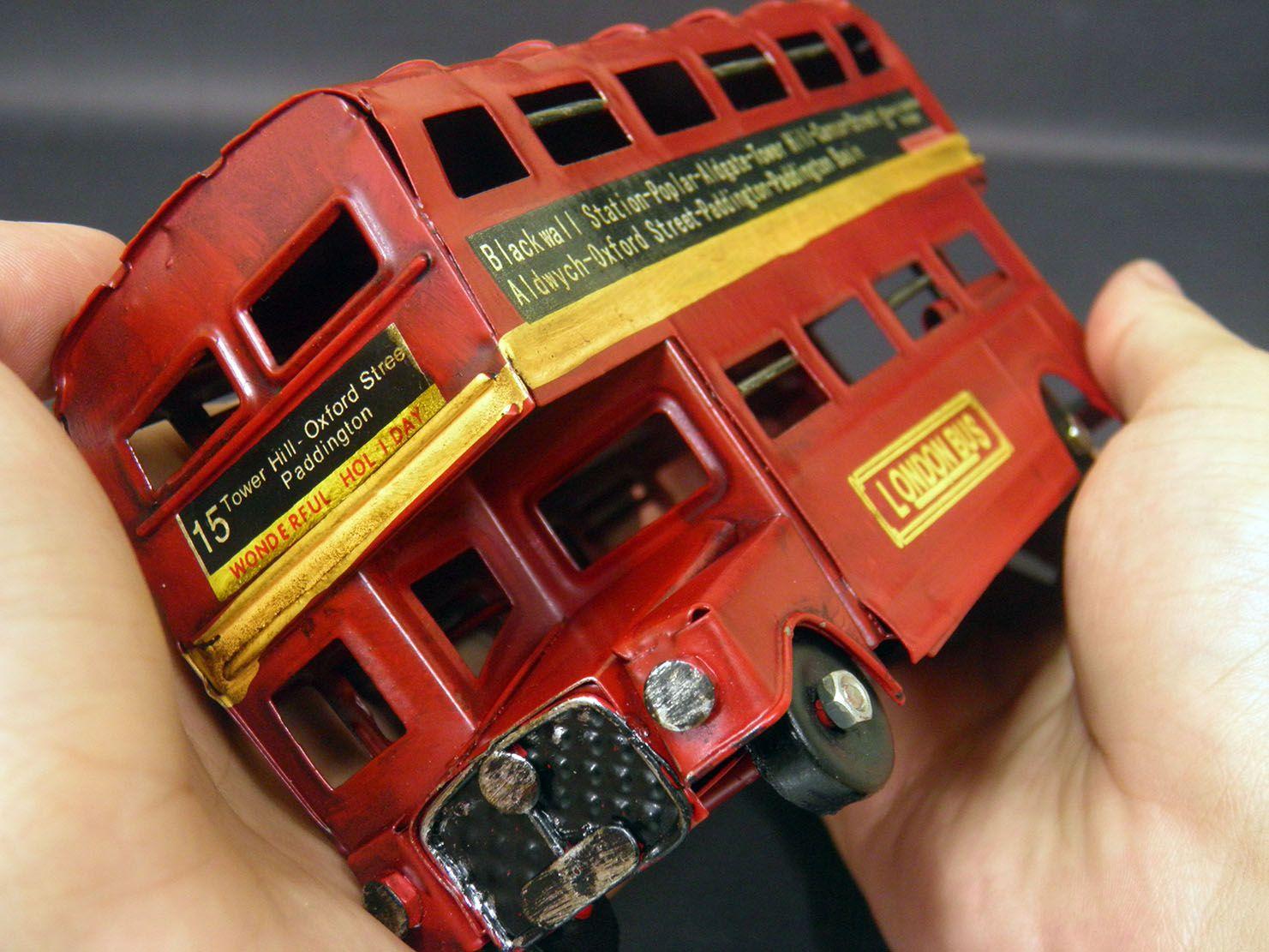 Onibus Vintage Decorativo London Retro De Ferro Vermelho (cj-008 Vermelho)