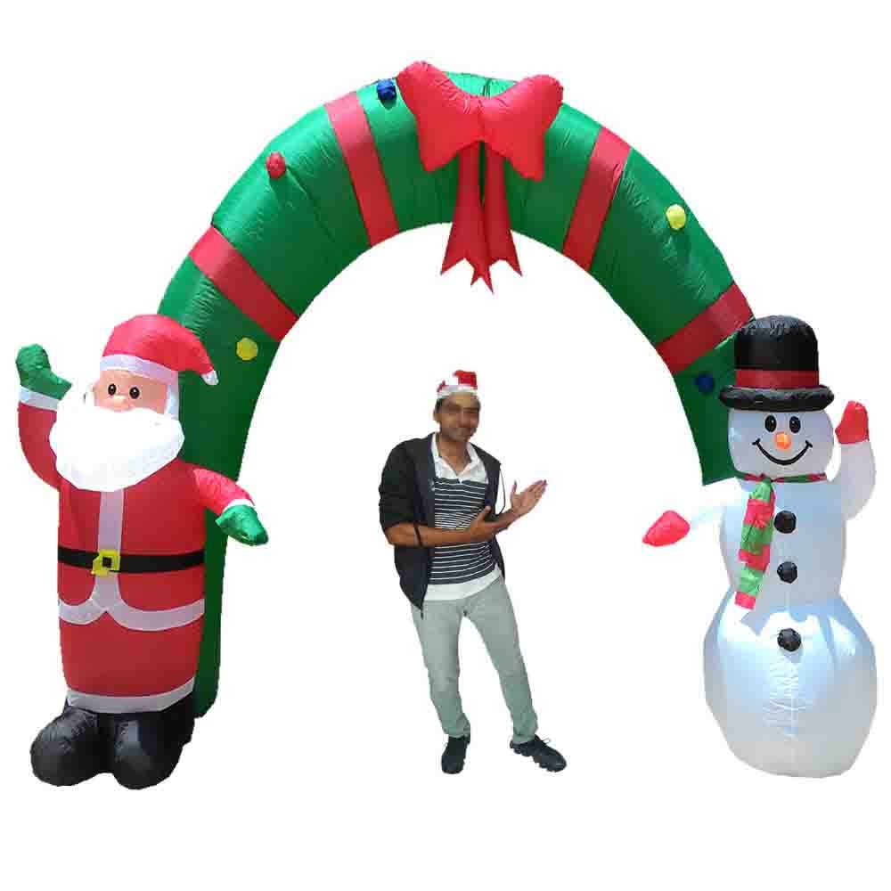Papai Noel Natal Boneco de Neve Inflavel Em Arco Natalino 2,55m Altura