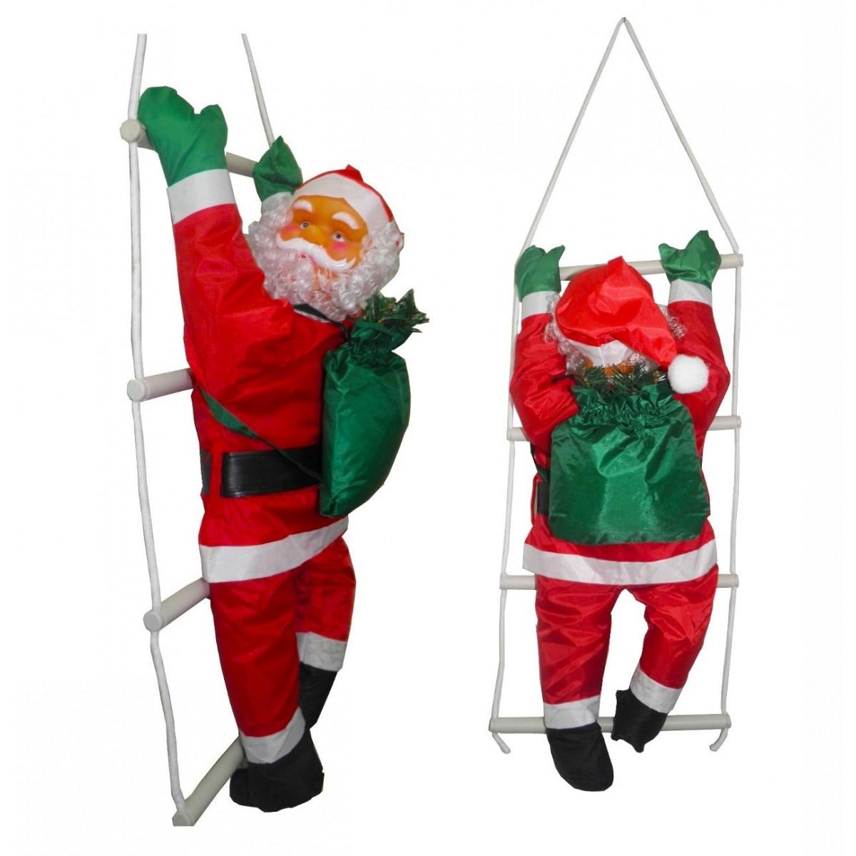 Papai Noel Subindo Escada Natal Decoracao Grande 74 cm Altura Natalino (BSL-36041-11)