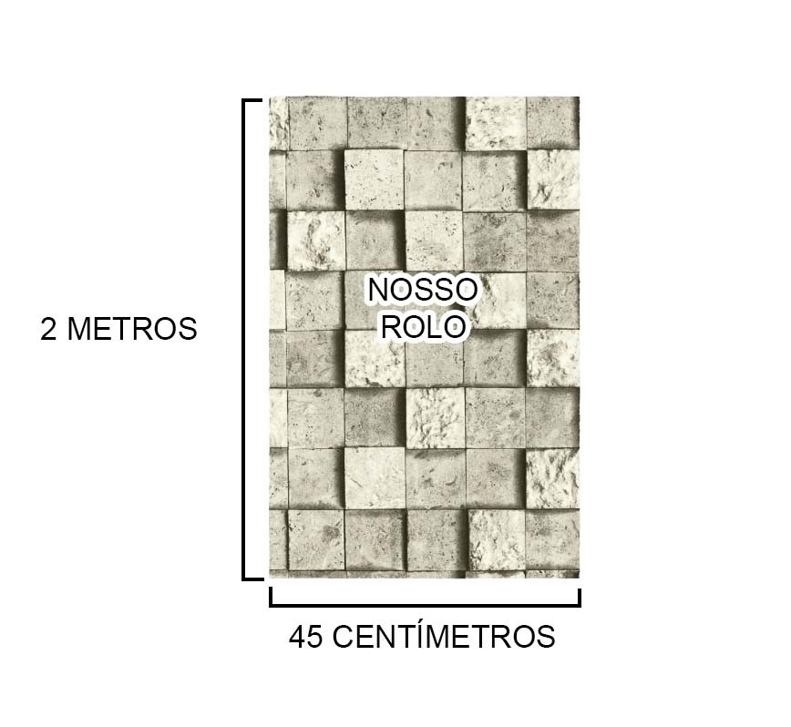Papel de Parede Autoadesivo Vinilico Rolo Lavavel Fosco Estampa Canjiquinha Pedra Cinza (bsl-42079-1-G-4)