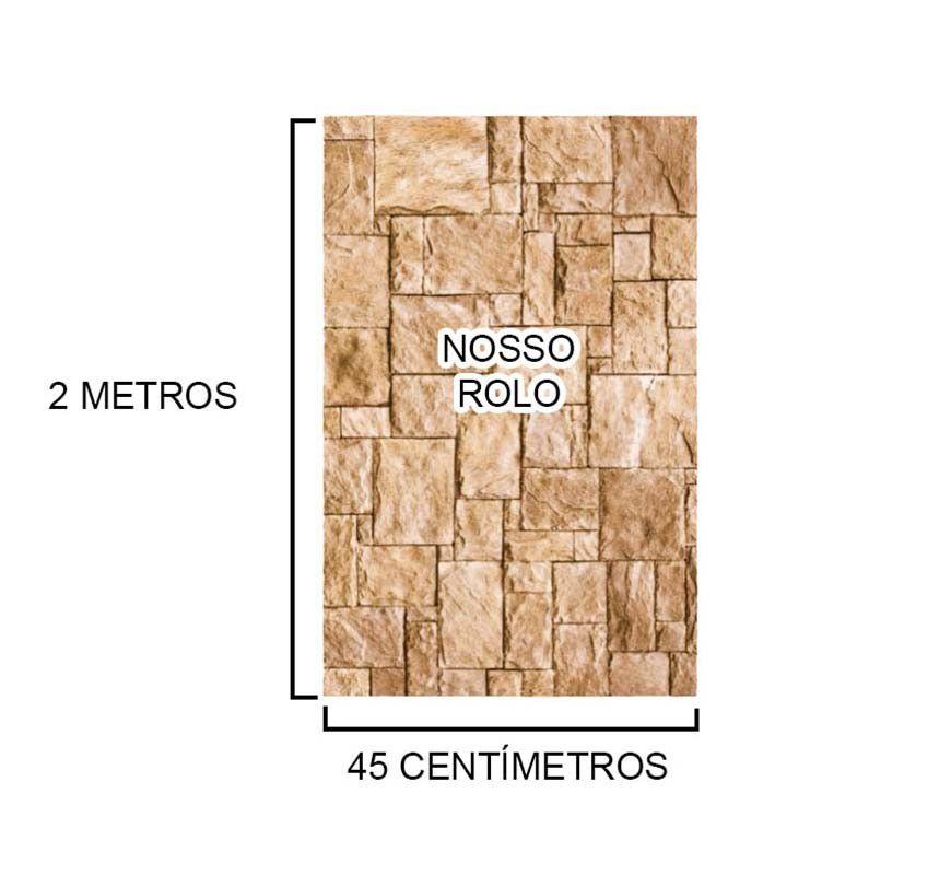 Papel de Parede Kit com 9 Unid Autoadesivo Vinilico Rolo Canjiquinha Pedra Bege (bsl-42079-1-H)
