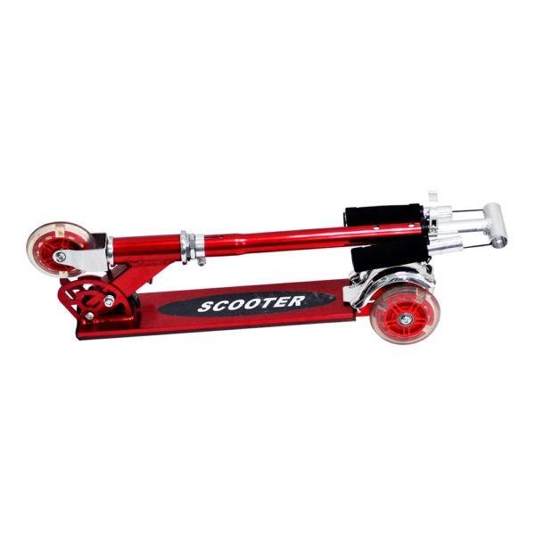 Patinete 3 Rodas Infantil Aluminio Scooter Metalizado Dobravel Altura Ajustavel Freio Traseiro Vermelho (DMR4455)