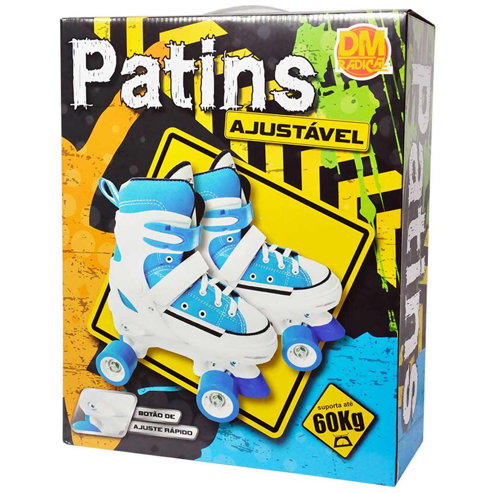 Patins 4 Rodas Ajustavel Tenis All Style Roller 29 ao 32 Retro Azul