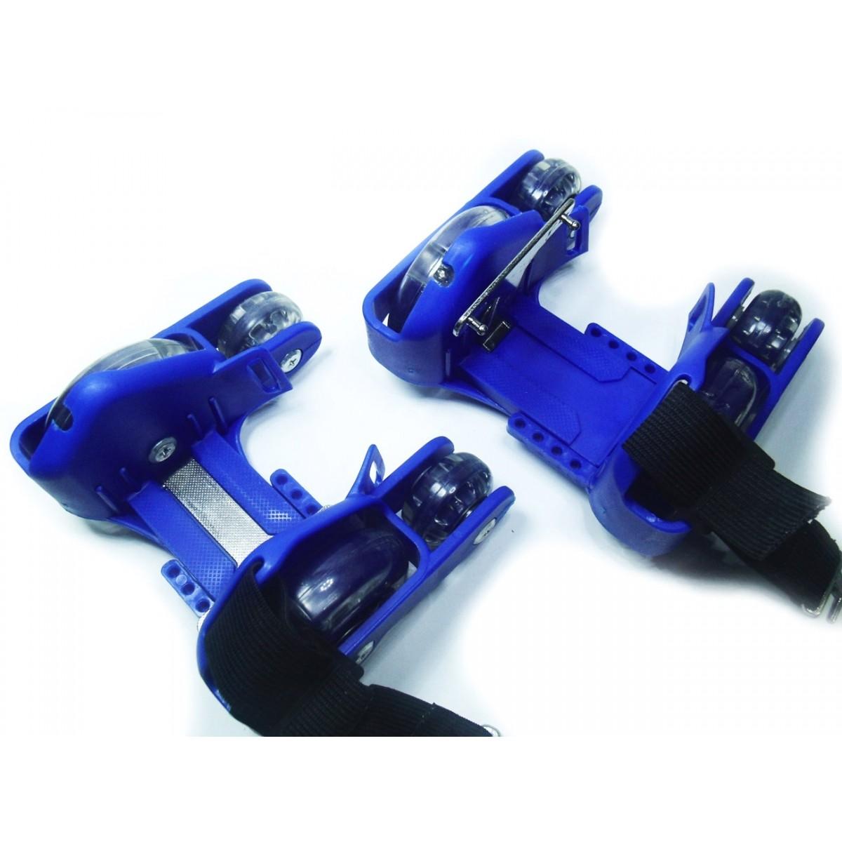Patins Adaptado Para Tenis De Led Roller Com 4 Rodas Azul (BSL-SKY-15)