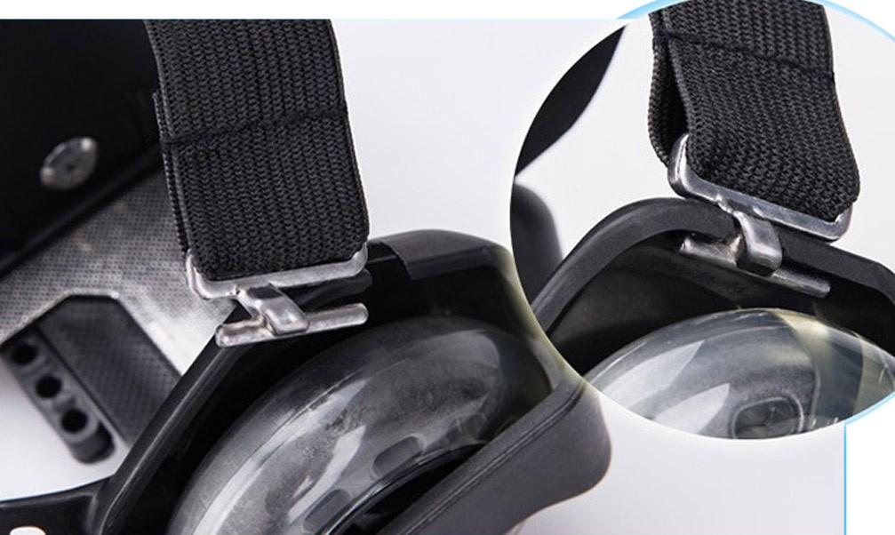 Patins Adaptado Para Tenis De Led Roller Com 4 Rodas Preto ( BSL-SKY-15)