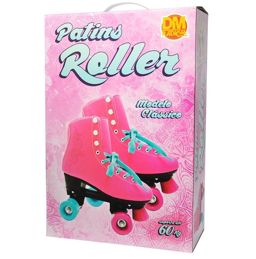 Patins Roller 4 Rodas Quad Retrô Classico Feminino Tam 34 Rosa (DMR5166 / R34)