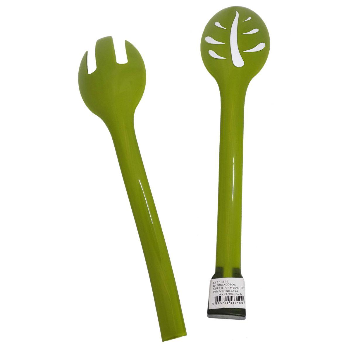 Pegador Universal Para Salada Alimentos Cozinha Plastico Garfo Colher Verde (sili-10)