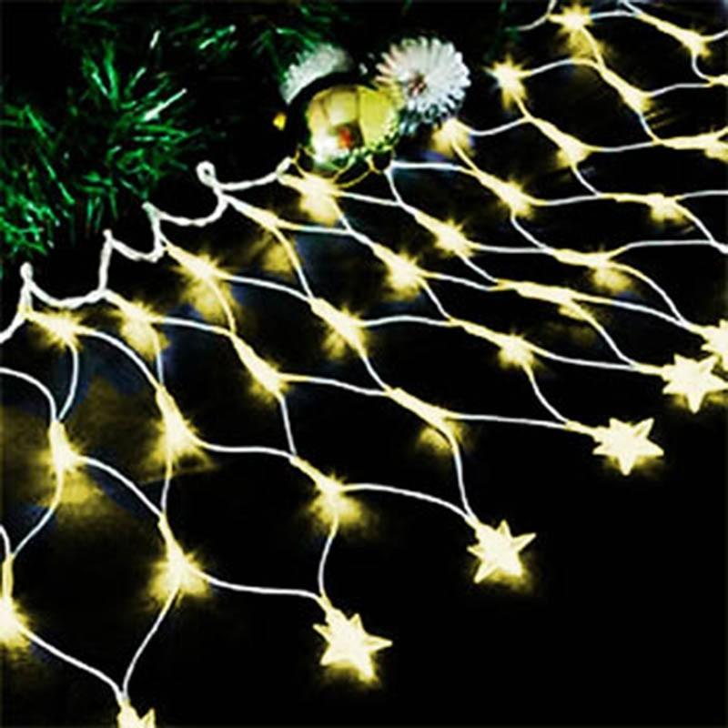 Pisca Pisca Led Cascata Estrela De Natal 120 Lampadas 8 Funçoes Branco Quente (JA80504 bran-quente)