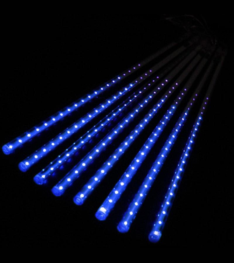 Cascata 8 Tubos Chuva de Gelo 136 LEDs Natal Pisca Pisca SnowFall Azul (NTN2178X127V)