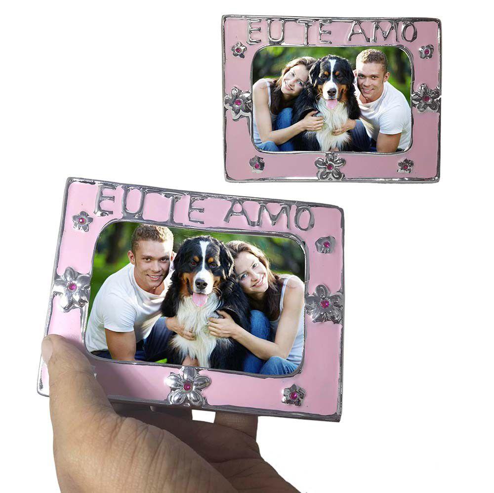 Porta Retrato Moldura Pequena Kit com 48 Unid Flor Amor Para Foto Rosa (cof-7/Amor)