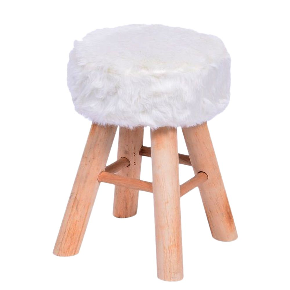 Puff Pelo Sintetico Banqueta Retro Madeira Design Branco