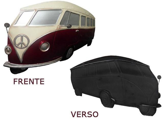 Quadro Kombi 3d Em Metal Para Parede Decoracao Vintage Retro Cor Vermelho (ENFT-8 Vermelho)