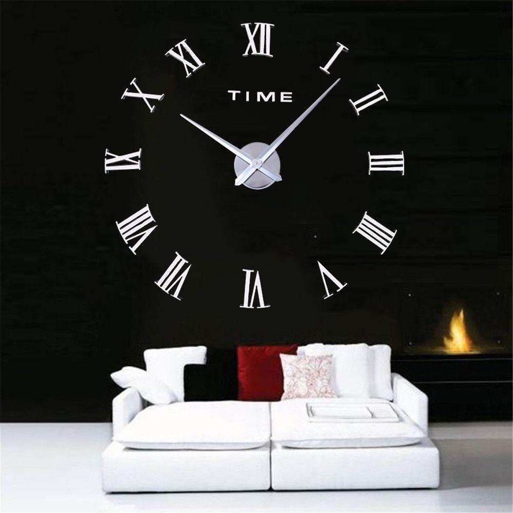 Relógio 3D Grande Decoração Romanos Parede Escritório Casa Sala