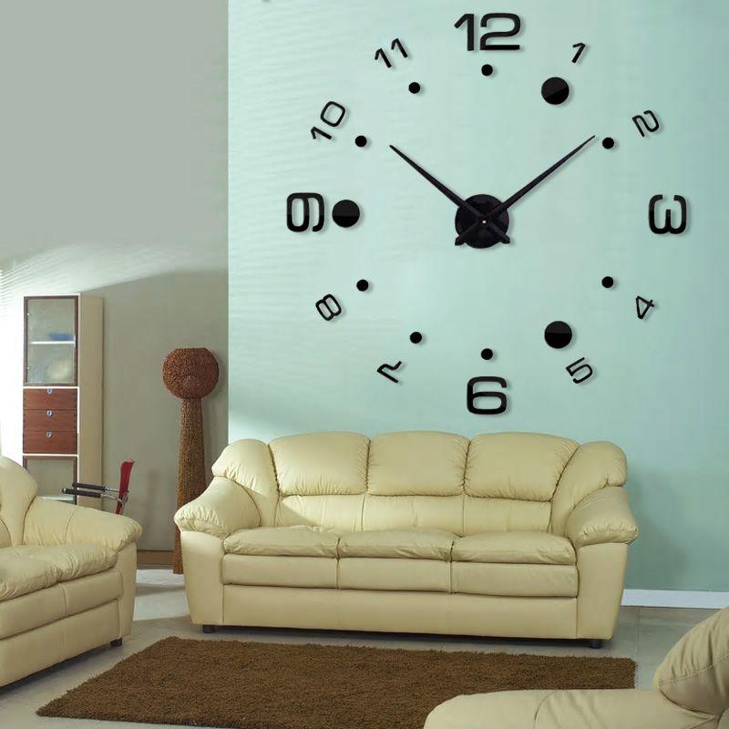 Relogio 3D Grande Decorativo Preto Parede Escritorio Casa Sala