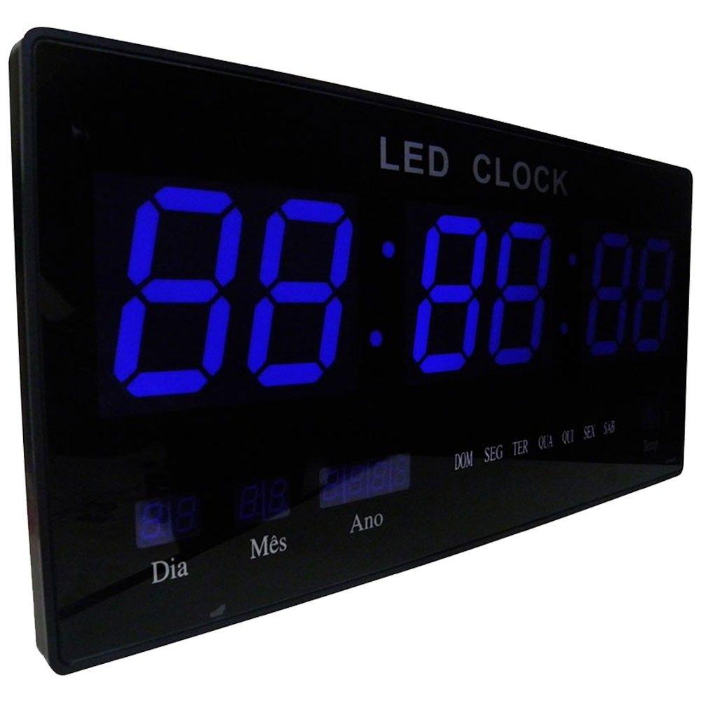 Relogio Bivolt Parede Digital de Led 46cm Termo Data Hora Azul (rel-61)