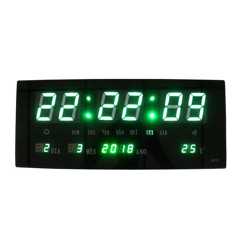 Relogio De Led Digital Verde Com Alarme Termo Data (BSL-REL-58)