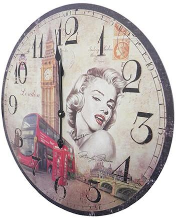 Relogio De Parede Redondo Grande Vintage Retro Decorativo Marilyn Monroe Para Casa ( XIN-02)