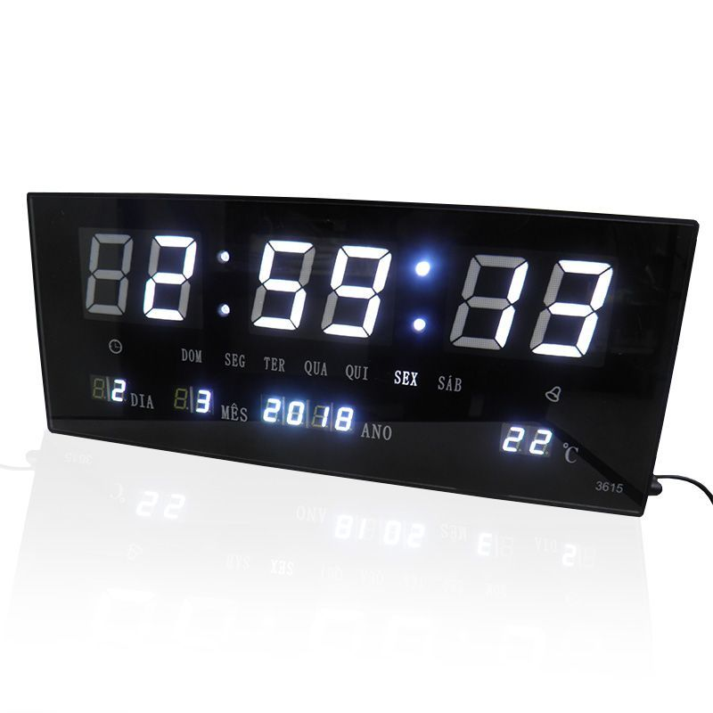 Relogio Digital De Parede Alarme Com Led Branco Calendario Term (BSL-REL-57)