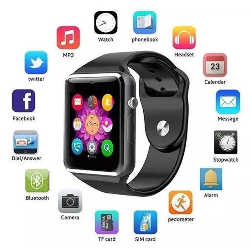 Relogio SmartWatch A1 Bluetooth Camera Celular Chip Cartao Musica Whatsapp (SmartWatch A1)
