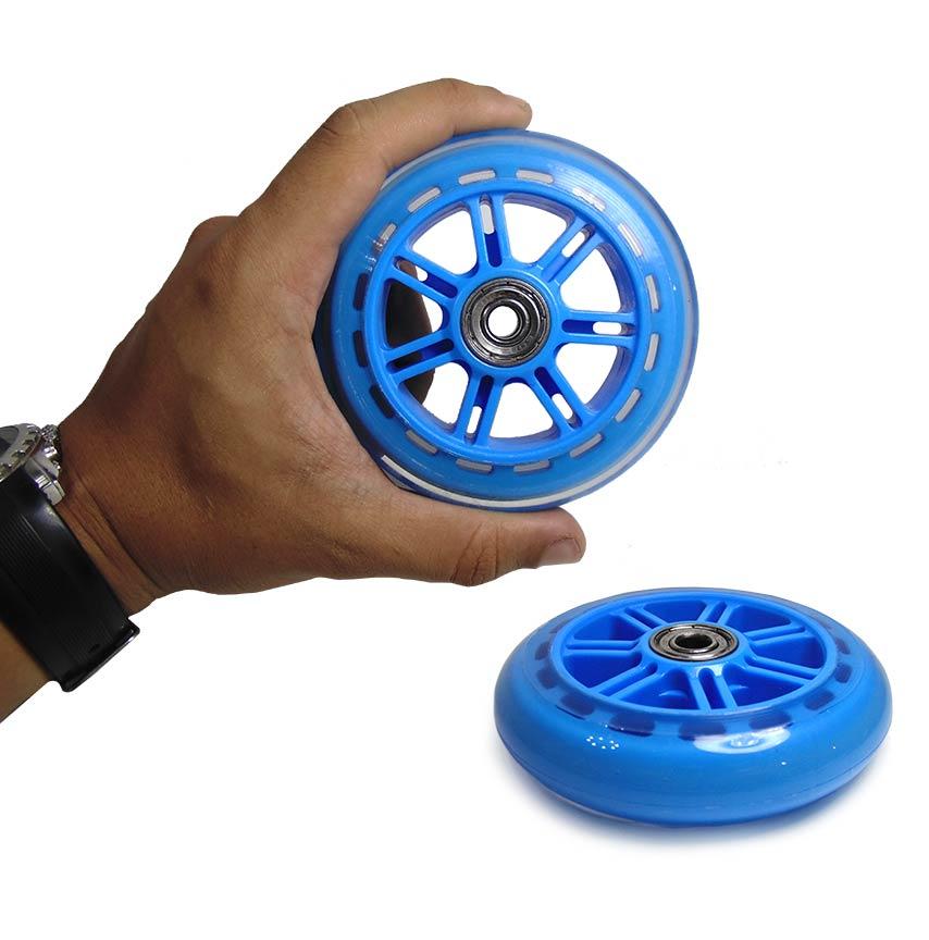 Roda de Silicone Patinete Kit Rodinhas Patins Abec 7 Azul 2 Unid (RA-C)