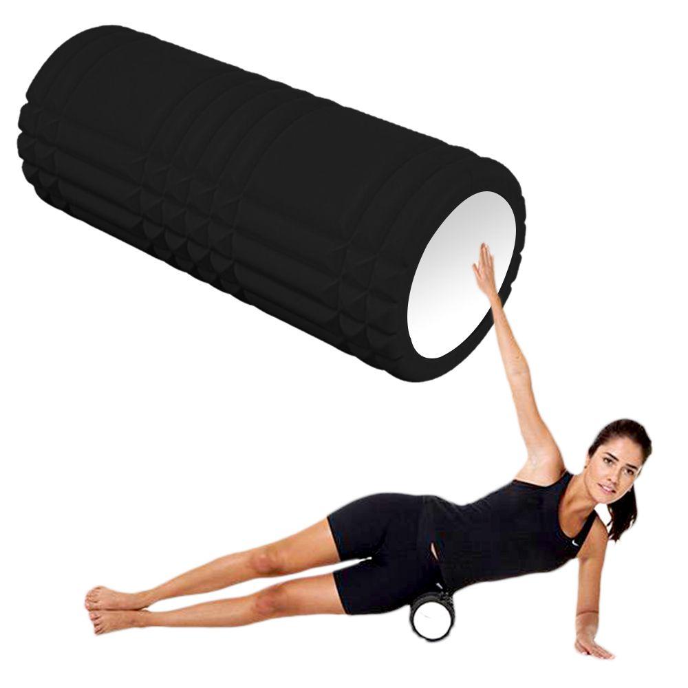Rolo Miofascial Massagem Relaxamento Roller Foam Pilates Yoga Preto