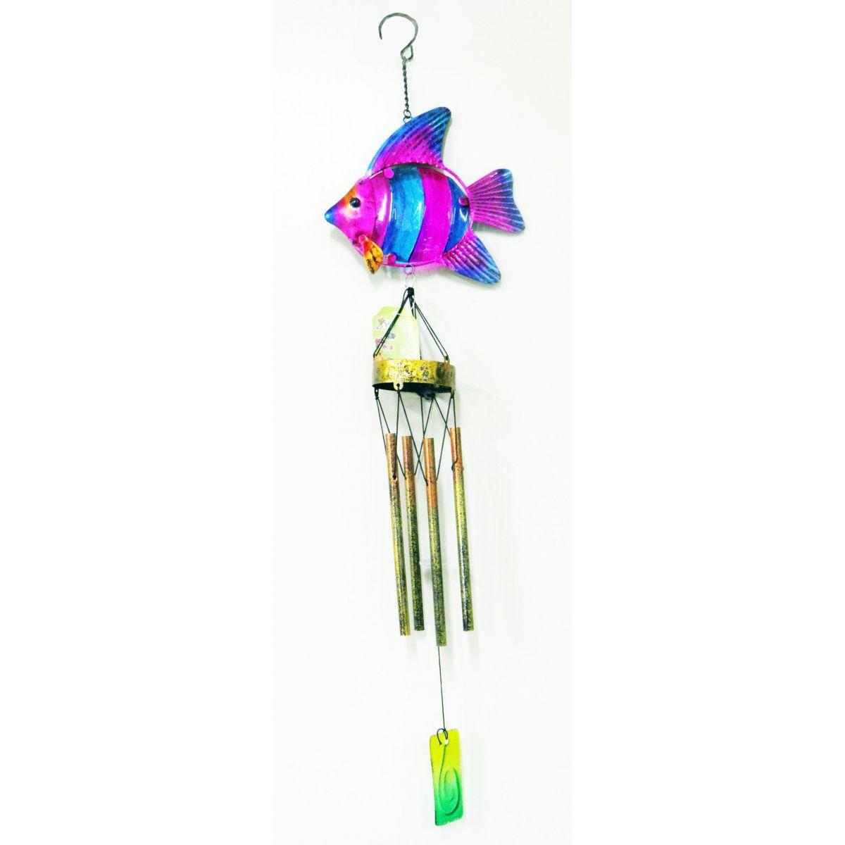 Sino Ventos Tradicional Peixe Colorido Aluminio Rosa