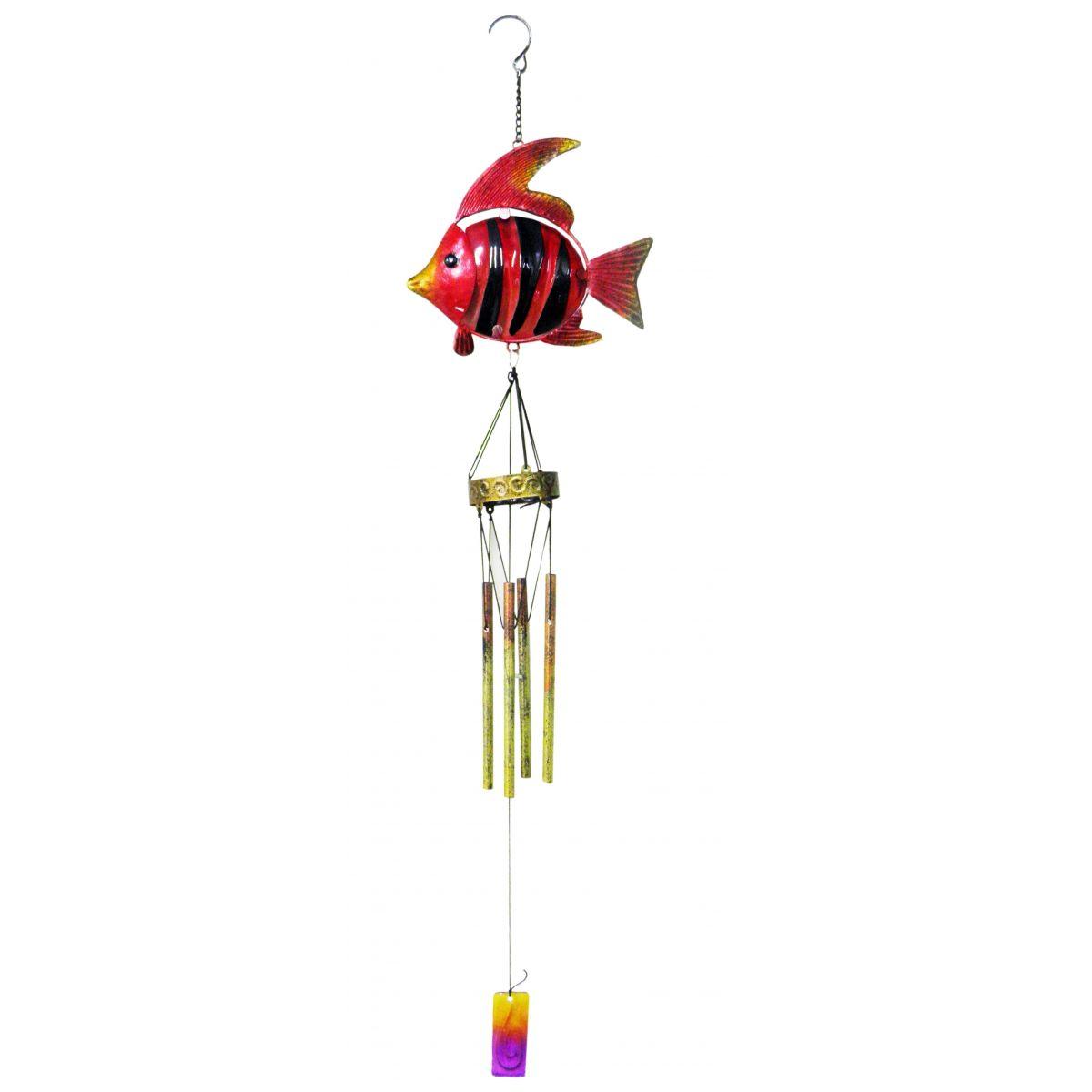 Sino Ventos Tradicional Peixe Colorido Vermelho