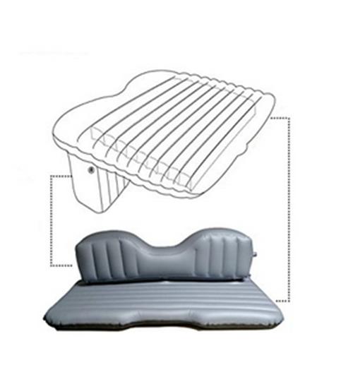 Sofa Cama Colchao Inflavel Automotivo Para Carro Camping Viagem 2 Travesseiros Cinza (BSL-45765-7)