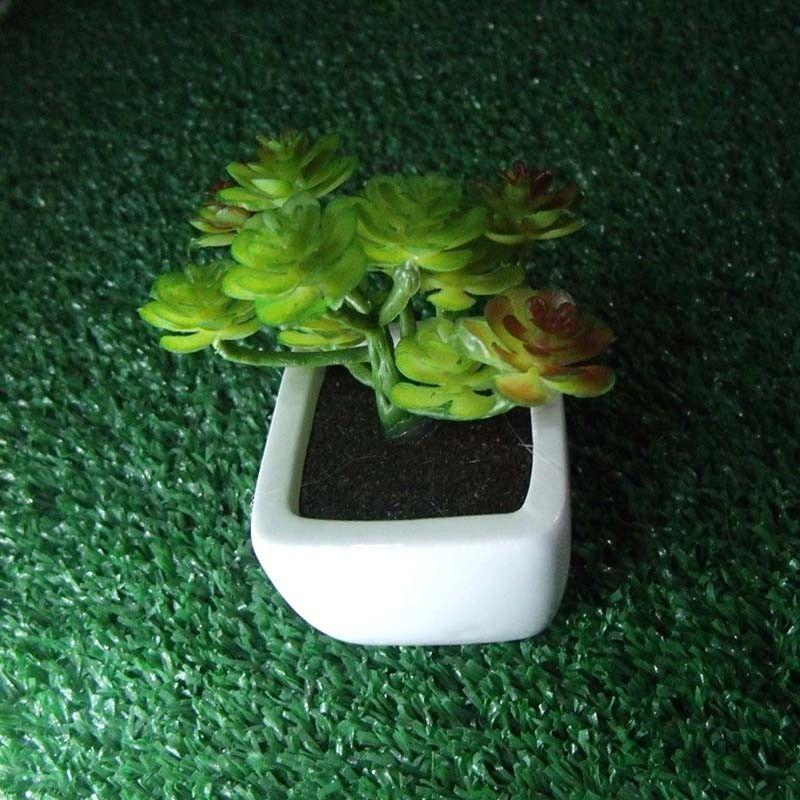 Suculenta Decorativa Planta Artificial Com Vaso Branco Kit 12 Unidades