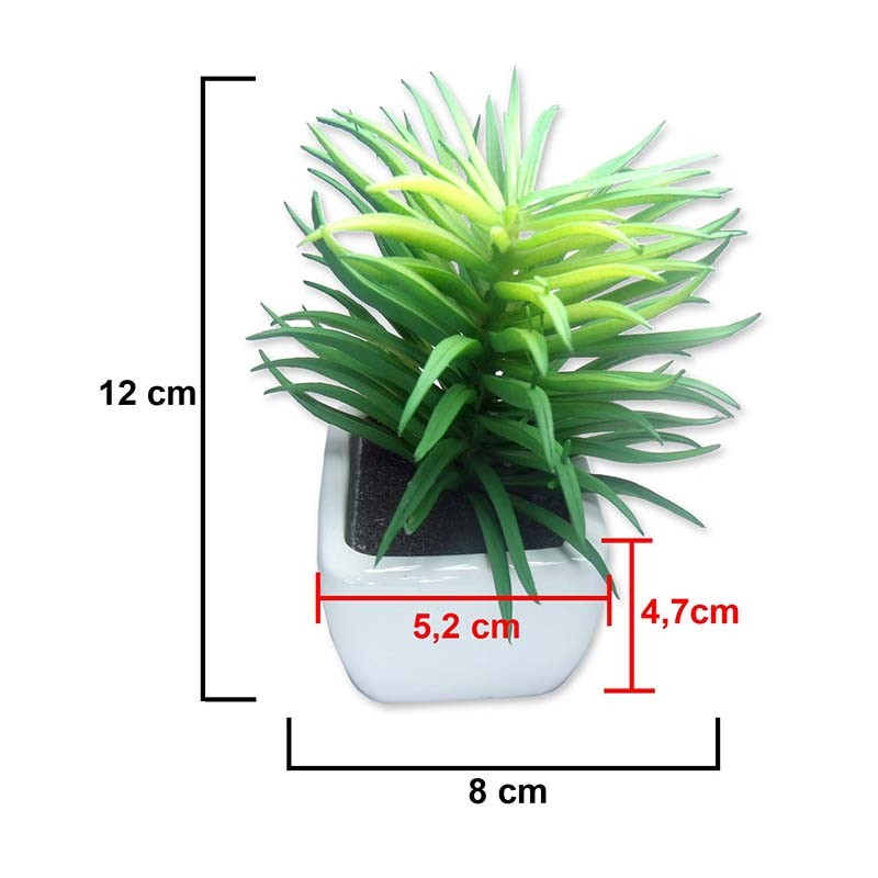 Suculenta Mini Planta Artificial Com Vaso Branco Mudas Enfeite Festa Kit Com 8 Unid (SH-1 MOD KIT8)